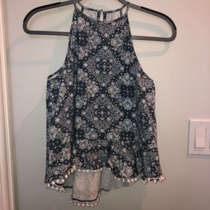 Patterned Blue Halter Tank